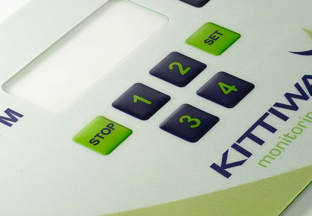 DIGITALLY PRINTED MEMBRANE KEYPAD BACKGROUND WITH PILLOW EMBOSS