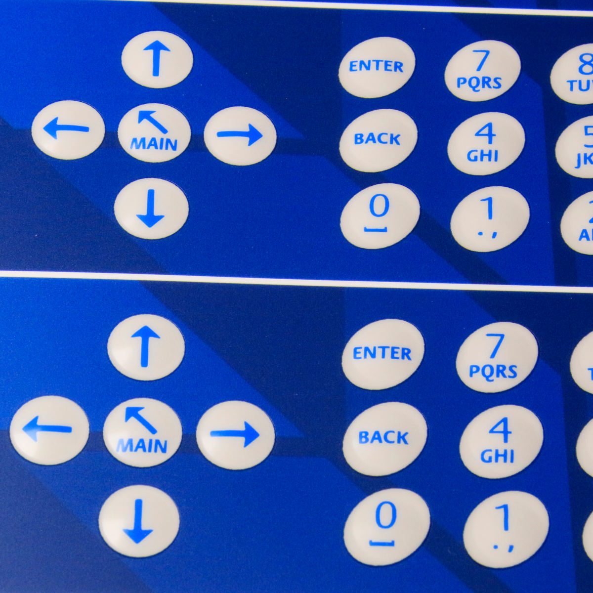 DIGITALLY PRINTED MEMBRANE KEYPAD BACKGROUND WITH DOME EMBOSS
